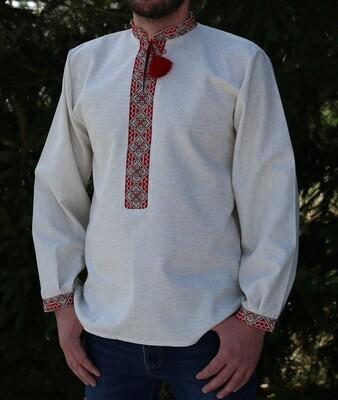 Вишиванка ручної роботи, чоловіча сорочка на льоні
