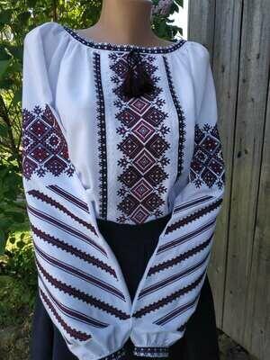 Вишиванка, жіноча вишивана блузка на домотканому полотні (Арт. 02632)