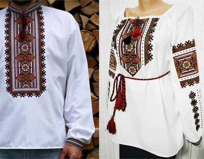 Пара вишиванок, жіноча та чоловіча вишиванки - комплект вишиванок для чоловіка і жінки (Арт. 02634)