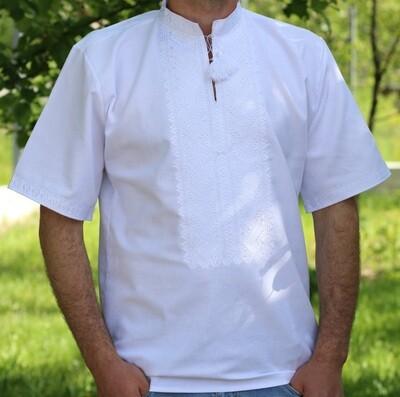 Вишиванка чоловіча білим по білому безпосередньо на домотканому полотні (Арт. 02638)