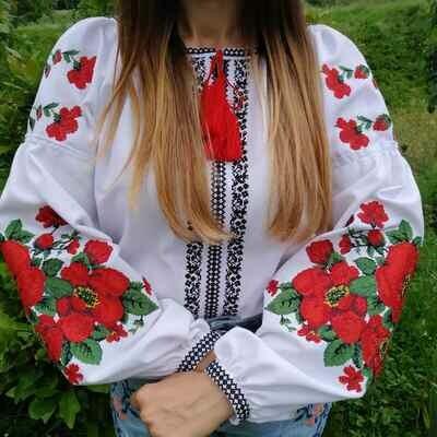Вишиванка, жіноча вишивана блузка на домотканому полотні (Арт. 02659)