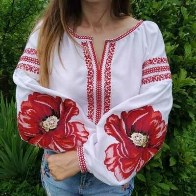 Вишиванка, жіноча вишивана блузка на домотканому полотні (Арт. 02662)