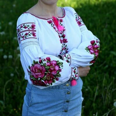 Вишиванка, жіноча вишивана блузка на домотканому полотні (Арт. 02637)