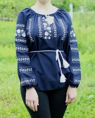 Вишиванка, жіноча вишивана блузка з квітами (Арт. 02674)
