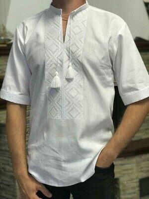 Вишиванка чоловіча білим по білому безпосередньо на домотканому полотні (Арт. 02678)