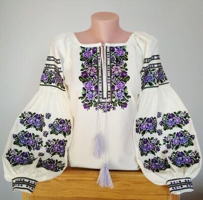 Неймовірно красива вишиванка, жіноча вишивана блузка на домотканому полотні (Арт. 02693)
