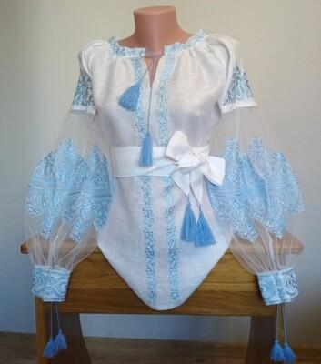 Вишиванка, жіноча вишивана блузка на білому льоні (Арт. 02694)