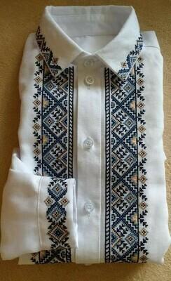 Вишиванка, чоловіча вишита сорочка на домотканому полотні (Арт. 02724