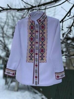 Вишиванка, чоловіча вишита сорочка на домотканому полотні (Арт. 02725)
