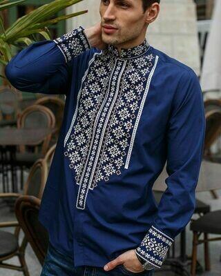 Вишиванка, чоловіча вишита сорочка на темно-синьому домотканому полотні (Арт. 02760)