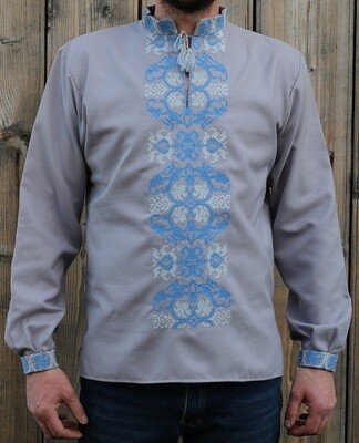 Вишиванка, чоловіча вишита сорочка на сірому домотканому (Арт. 02768)