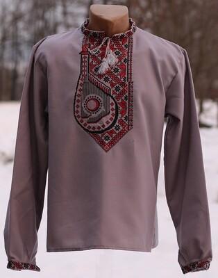 """Вишиванка, чоловіча вишита сорочка на сірому домотканому """"Бандура"""" (Арт. 02770)"""