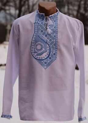 """Вишиванка, чоловіча вишита сорочка на білому домотканому """"Бандура"""" (Арт. 02771)"""