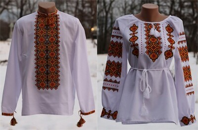 Пара вишиванок, жіноча та чоловіча вишиванки - комплект вишиванок для чоловіка і жінки (Арт. 02775)