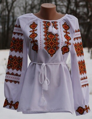 Вишиванка, жіноча вишивана блузка на домотканому полотні (Арт. 02773)