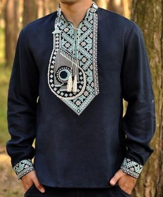 """Вишиванка, чоловіча вишита сорочка на темно-синьому льоні """"Бандура"""" (Арт. 02776)"""
