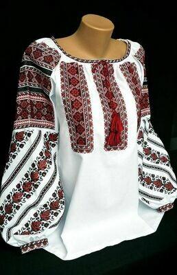 Вишиванка, жіноча вишивана блузка на домотканому полотні (Арт. 02777)