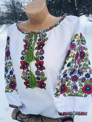 Вишиванка, жіноча вишивана блузка на домотканому полотні (Арт. 02780)