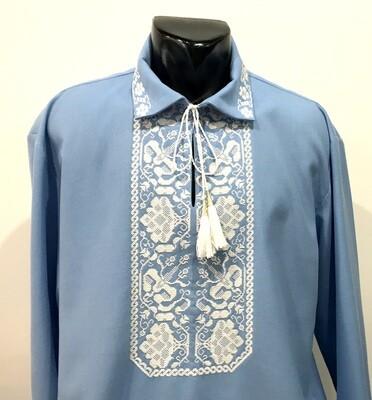 Вишиванка, чоловіча вишита сорочка на блакитному домотканому полотні (Арт. 02786)