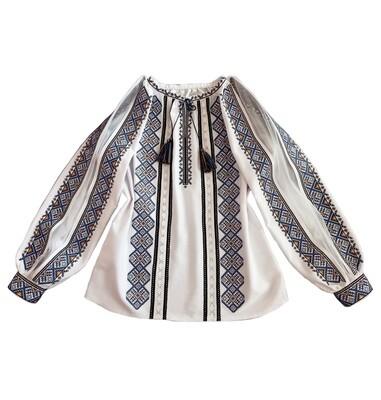 Вишиванка, жіноча вишивана блузка на білому домотканому+євросітка (Арт. 02788)