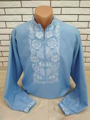 Вишиванка, чоловіча вишита сорочка на блакитному домотканому полотні (Арт. 02794)