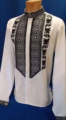 Вишиванка, чоловіча вишита сорочка на домотканому полотні (Арт. 02798)