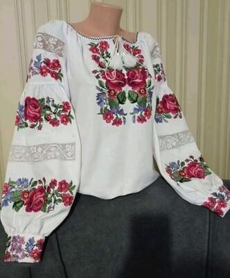 Вишиванка, жіноча вишивана блузка на домотканому полотні (Арт. 02800)
