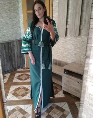 Вишиванка жіноча, сукня вишивана на зеленому домотканому (Арт. 02805)