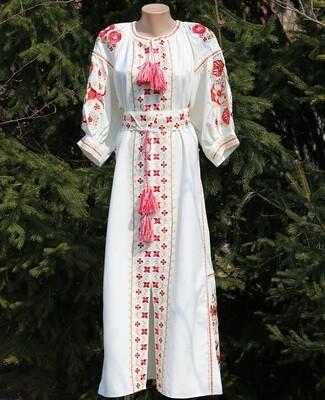 Вишиванка жіноча, сукня вишивана на льоні (Арт. 02809)