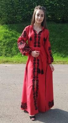Вишиванка жіноча, сукня вишивана на червоному льоні (Арт. 02816)
