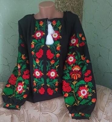Вишиванка, жіноча вишивана блузка на чорному домотканому (Арт. 02813)