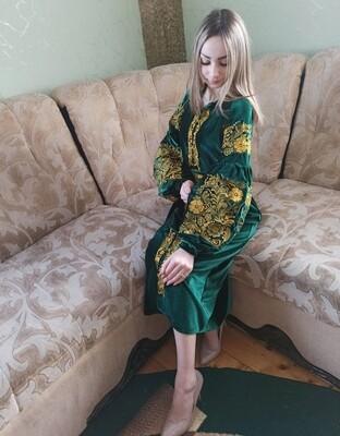 Вишиванка жіноча, сукня вишивана на зеленому оксамиті (Арт. 02815)