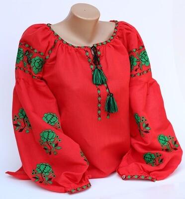 Вишиванка, жіноча вишивана блузка на червоному льоні (Арт. 02824)