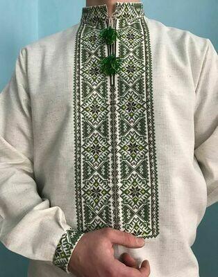 Вишиванка, чоловіча вишита сорочка на льоні (Арт. 02827)