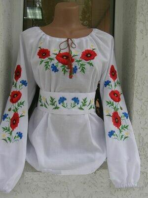 Вишиванка, блузка жіноча з квітами (Арт. 02826)
