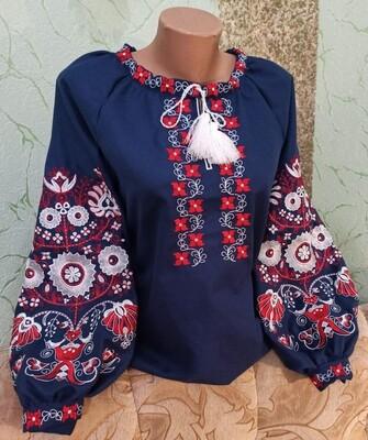 Вишиванка, жіноча вишивана блузка на темно-синьому домотканому (Арт. 02830)