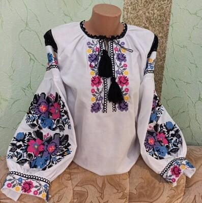 Вишиванка, жіноча вишивана блузка на домотканому полотні (Арт. 02831)