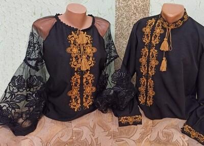 Пара вишиванок, жіноча та чоловіча вишиванка - комплект вишиванок для чоловіка і жінки (Арт. 02835)