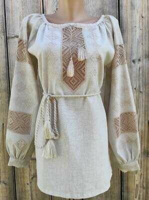 Вишиванка, жіноча вишивана блузка на сірому льоні (Арт. 02842)