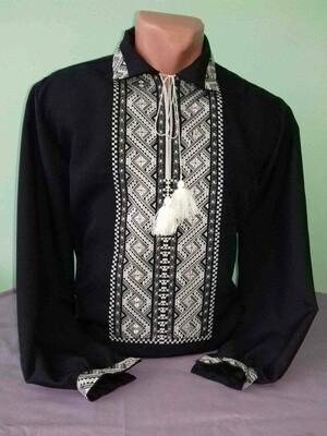 Вишиванка, чоловіча вишита сорочка на чорному льоні (Арт. 00038)