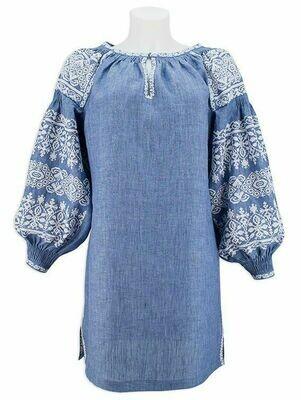 Вишиванка, жіноча вишивана блузка (туніка) на джинс-льоні (Арт. 02843)
