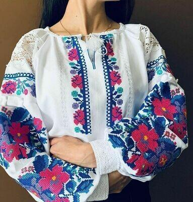Вишиванка, жіноча вишивана блузка на домотканому полотні (Арт. 02847)