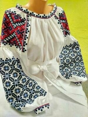 Вишиванка, жіноча вишивана блузка на білому льоні (Арт. 02850)