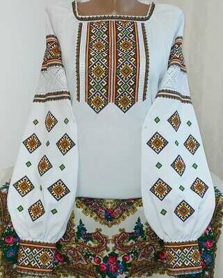 """Вишиванка, жіноча вишивана блузка на домотканому полотні """"Мережка"""" (Арт. 02852)"""