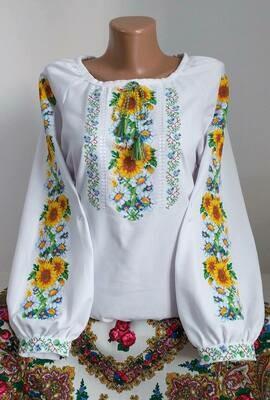 """Вишиванка, жіноча вишивана блузка на домотканому полотні """"Соняхи"""" (Арт. 02859)"""