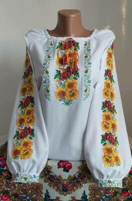 """Вишиванка, жіноча вишивана блузка на домотканому полотні """"Соняхи"""" (Арт. 02858)"""