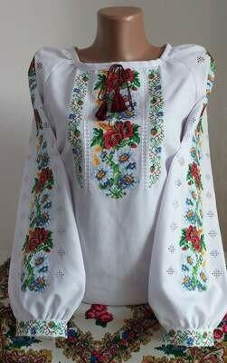 Вишиванка, жіноча вишивана блузка на домотканому полотні (Арт. 02857)