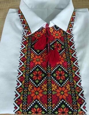 Вишиванка, чоловіча вишита сорочка з класичним коміром(Арт. 02865)