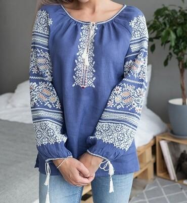 Вишиванка, жіноча вишивана блузка на джинс-льоні (Арт. 02866)