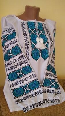 Вишиванка, жіноча вишивана блузка на домотканому полотні (Арт. 02868)